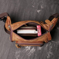 Vintage Brown LEATHER MENS Barrel FANNY PACK FOR MEN BUMBAG Vintage WAIST BAG for Men