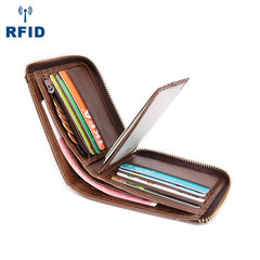 Cool Brown Small Zipper MENS LEATHER Brown Bifold Wallet SLIM billfold Brown Wallet FOR MEN