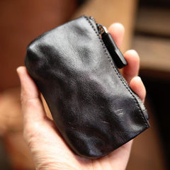 Vintage Slim Black Leather Mens Coin Wallet Zipper Coin Holder Change Pouch For Men