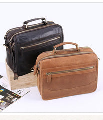 Small Brown Leather Briefcase Messenger Bag Work Vintage Handbag Shoulder Bag For Men