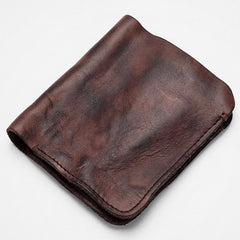 Dark Brown Handmade Leather Mens Bifold Small Wallet Brown billfold Wallet Card Wallet For Men