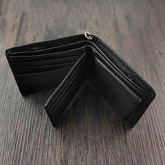 Badass Black Leather Men's Trifold Cross Small Biker Wallet Chain Wallet with chain For Men