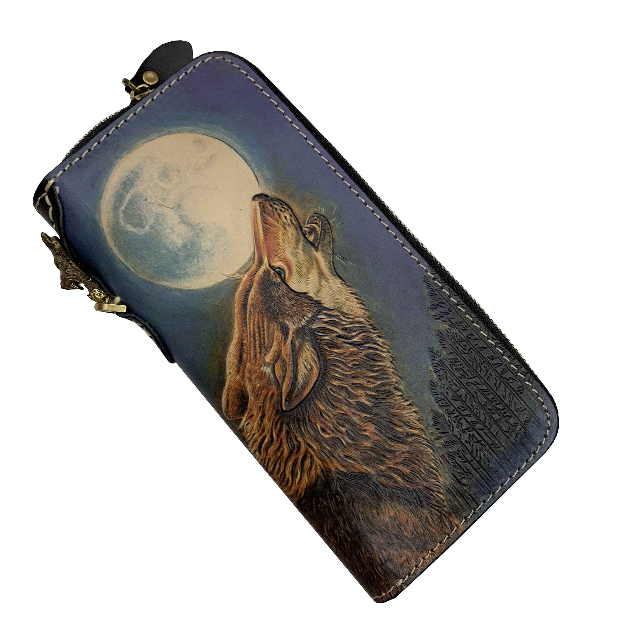 Handmade Cool Tooled Wolf Leather Men's Biker Chain Wallet Zipper Long Chain Wallet For Men