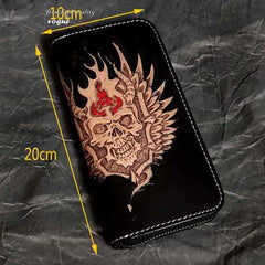 Black Leather Men's Long Biker Wallet Ghost Skull Badass Handmade Tooled Zipper Long Wallets For Men