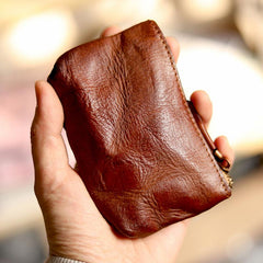 Vintage Slim Red Leather Mens Coin Wallet Zipper Coin Holder Change Pouch For Men