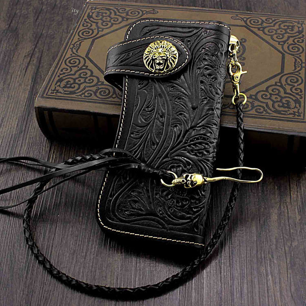 Handmade Black Leather Mens Biker Chain Wallet Biker wallet with Chain Long Wallet For Men