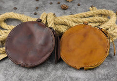 Mens Brown Leather Coin Purse Coin Pouch Change Case Mini Leather Pouch For Men and Women