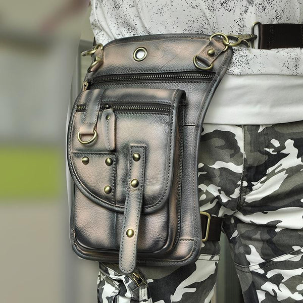 Cool Leather Brown Men's Biker Drop Leg Bag Belt Pouch Black Waist Bag Side Bag For Men