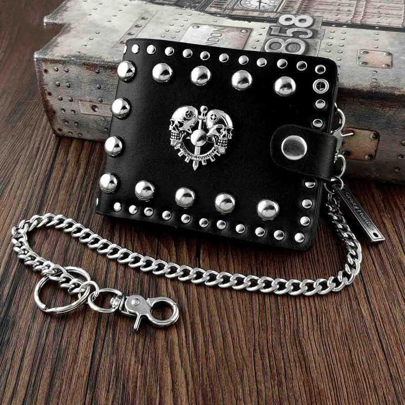 Punk Black Leather Men's Small Biker Wallet Chain Wallet Skull Short Wallet with Chain For Men
