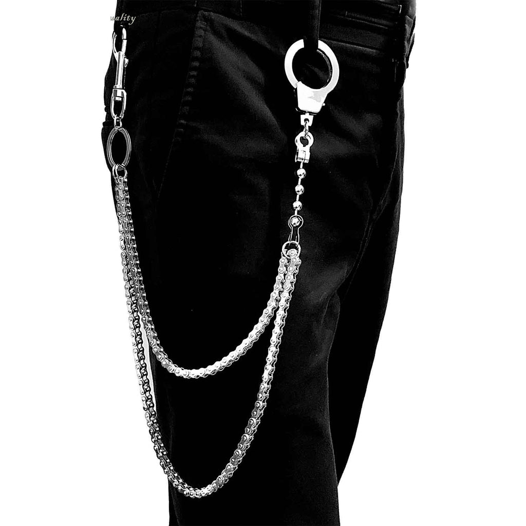 Badass Silver Stainless Steel Mens Double Chain Pants Chain Wallet Cha Ichainwallets