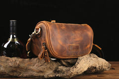 Brown LEATHER MEN'S Small Side bag Brown Saddle Bag MESSENGER BAG Brown Courier Bag FOR MEN