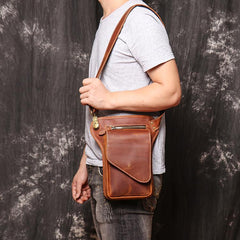 Brown MENS LEATHER FANNY PACK FOR MEN Coffee Drop Leg Bag BUMBAG WAIST BAGS