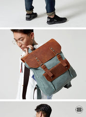 Fashion Canvas Leather Womens Army Green Backpack School Backpack Canvas Travel Backpack For Men