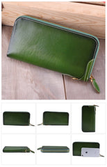 Retro Dark Brown Leather Men's Long Wallet Army Green Simple Long Wallet Clutch For Men