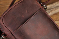 Leather Men's Brown Small Shoulder Bag Mini Side Bag Phone Messenger Bag For Men
