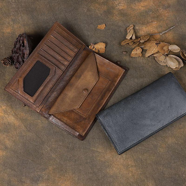 Vintage Leather Mens Brown Cool Long Wallet Long Bifold Clutch Card Wallet for Men