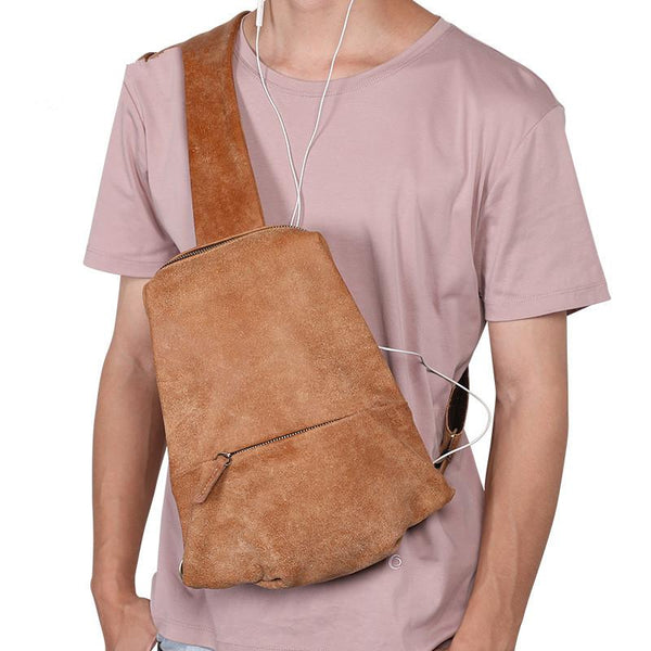 Cool Brown Leather Mens Sling Bag Sling Shoulder Bag Chest Bag Sling Crossbody Bag For Men