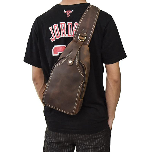 Vintage Mens Leather One Shoulder Backpack Chest Bag Sling Bag Sling Crossbody Bag For Men
