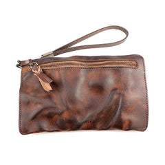 Retro Soft Leather Brown Men's Business Black Clutch Bag Purse Large Red Wristlet Bag For Men