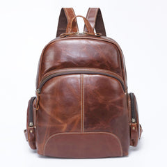 BROWN LEATHER MEN'S College Backpack Travel Backpack Leather Backpack For Men