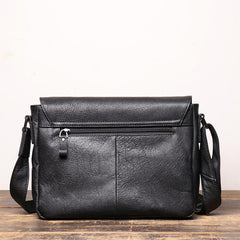 Black Leather Small Zipper Messenger Bag Small Side Bag Black Courier Bag Shoulder Bag For Men