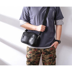 MIni Black Leather MENS Side Bag Black Small Leather Messenger Bag Courier Bag For Men