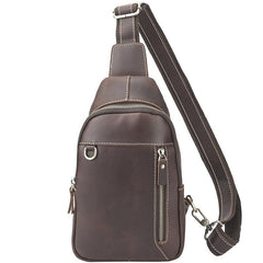 Simple Black Leather Sling Backpack Mens Sling Bag Vintage Sling Pack For Men