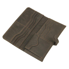 Coffee Leather Long Wallet for Men Checkbook Wallet Bifold Long Wallet With Coin Pocket For Men