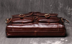 Oiled Leather Men's Red Brown Professional Briefcase 14'' Laptop Handbags Business Bag For Men