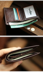 Slim Leather Mens Business SMall Bifold Wallet Bifold billfold Wallet Small Front Pocket Wallet For Men