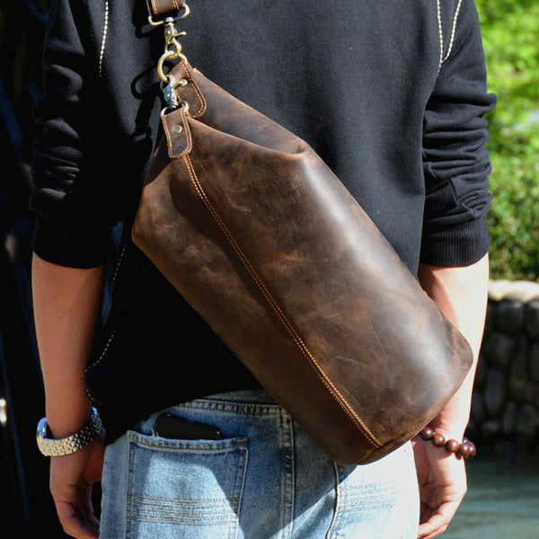 Cool Mens Leather Barrel Chest Bags Bucket Sling Bag One Shoulder Backpack For Men