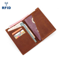 Slim Black RFID Men's Leather Bifold Dark Brown Passport Wallet Travel Wallet Ticket Wallet For Men