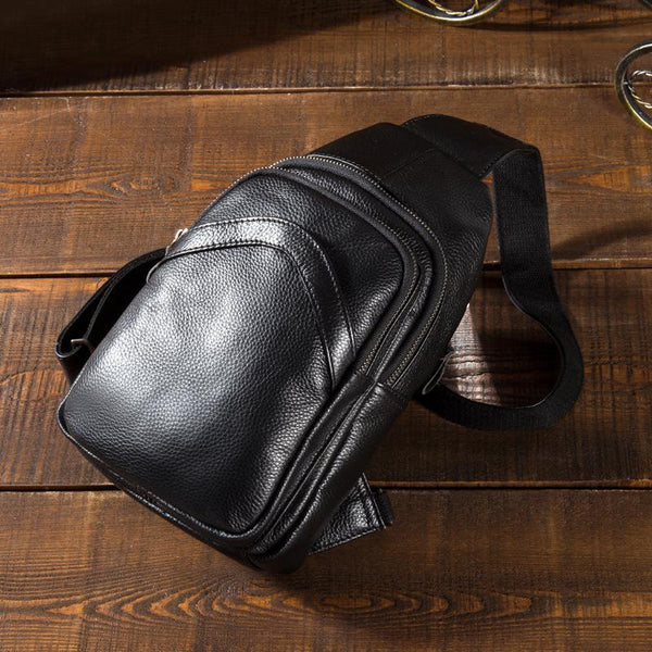 Soft Leather Mens Black One Shoulder Backpack Chest Bag Sling Bag Sling Crossbody Bag For Men
