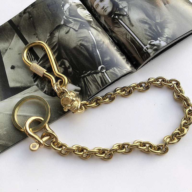 Solid Brass Cool Punk Rock Skull Wallet Chain Biker Trucker Wallet Chain Trucker Wallet Chain for Men