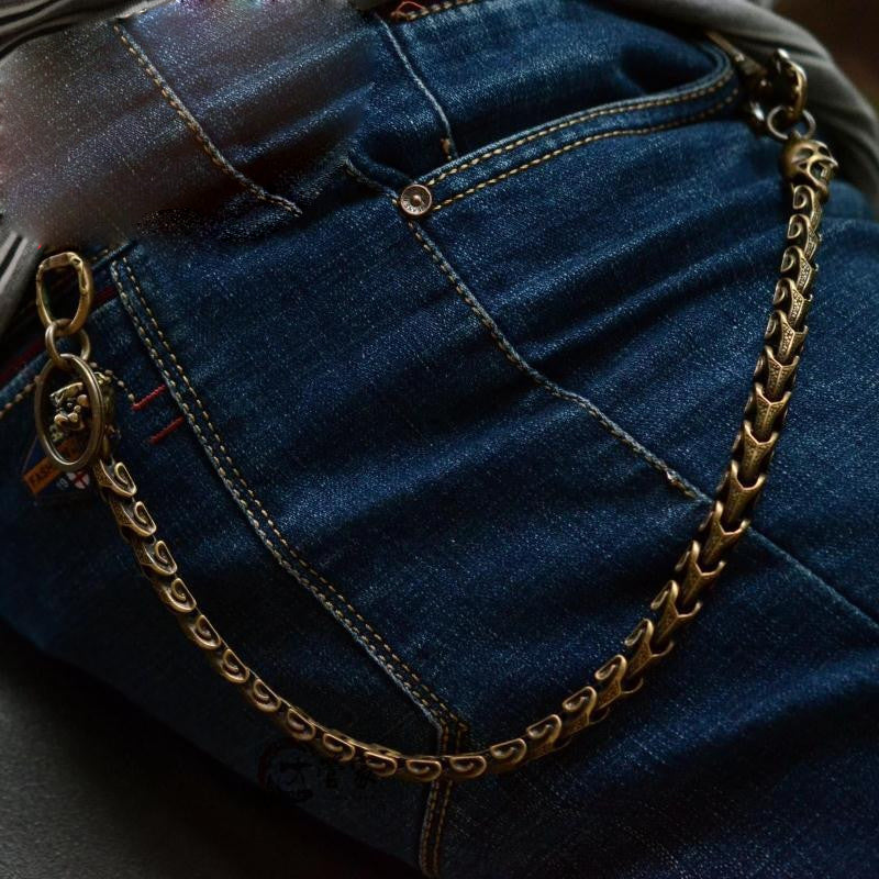 Solid Brass Cool Punk Rock Snake Bone Skull Wallet Chain Biker Trucker Wallet Chain Trucker Wallet Chain for Men