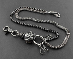Solid Metal Leather Skull Wallet Chain Cool Punk Rock Biker Trucker Wallet Chain Trucker Wallet Chain for Men