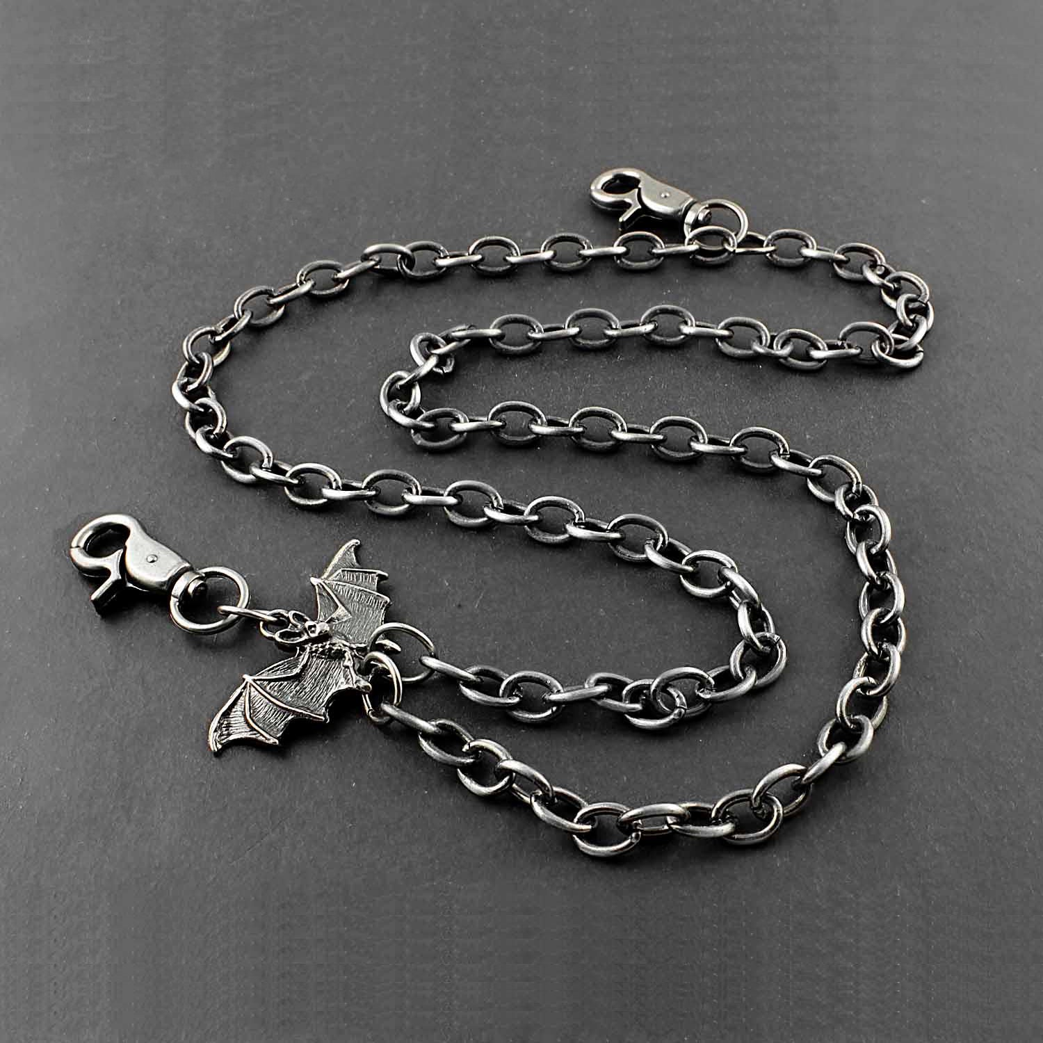 Solid Stainless Steel Bat Wallet Chain Cool Punk Rock Biker Trucker Wallet Chain Trucker Wallet Chain for Men