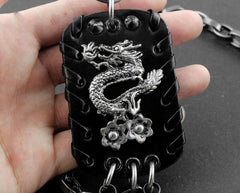 Solid Stainless Steel Chinese Dragon Wallet Chain Cool Punk Rock Biker Trucker Wallet Chain Trucker Wallet Chain for Men