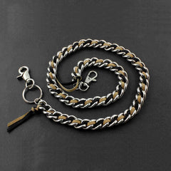 Solid Stainless Steel Leather Braided Long Wallet Chain Cool Punk Rock Biker Trucker Wallet Chain Trucker Wallet Chain for Men