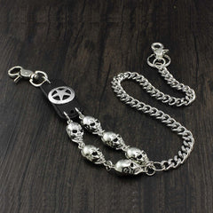 Solid Stainless Steel Long Skull Wallet Chain Cool Punk Rock Biker Trucker Wallet Chain Trucker Wallet Chain for Men