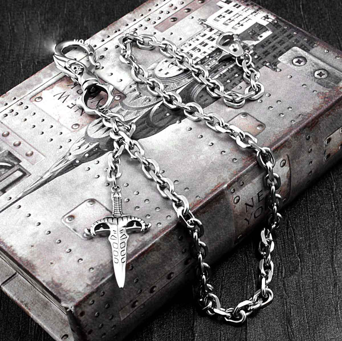 Solid Stainless Steel Skull Sword Wallet Chain Cool Punk Rock Biker Trucker Wallet Chain Trucker Wallet Chain for Men