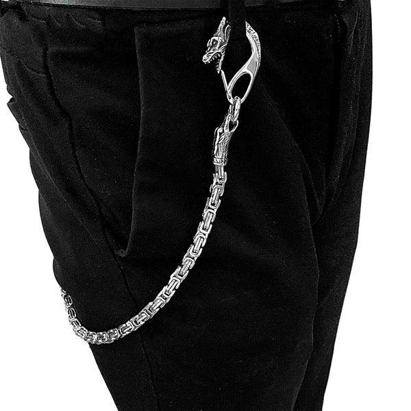 Cool Silver Dragon Stainless Steel Wallet CHain Long Biker Wallet CHain Jean Chain For Men