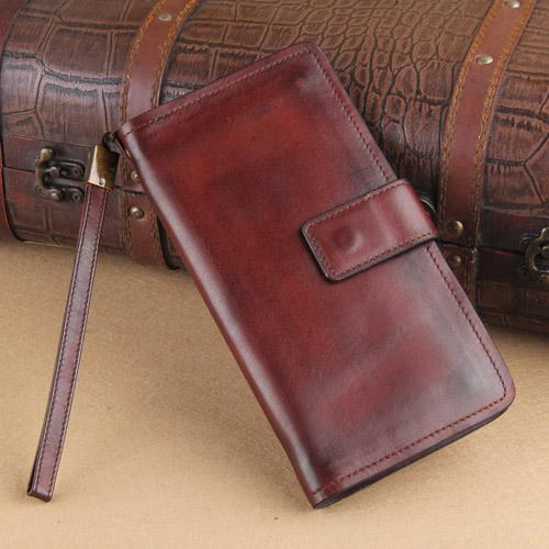 Genuine Leather Mens Cool Biker Chain Wallet Long Leather Wallet Slim Clutch Wristlet Wallet for Men