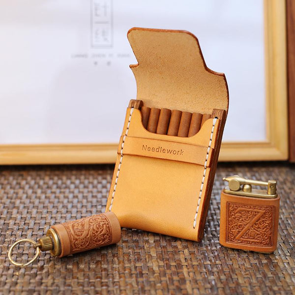 Cool Wooden Beige Leather Mens 7pcs Cigarette Case Custom Cigarette Holder for Men