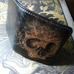 Handmade Leather Skull Tooled Mens Short Wallet Cool Leather Wallet Slim Wallet for Men