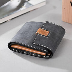 Handmade Leather Mens Cool Slim Leather Wallet Men Small Wallets Trifold for Men