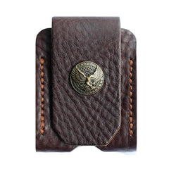 Cool Mens Leather Eagle Black Zippo Lighter Case with Loop Zippo lighter Holder with clip