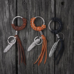Handmade Biker Trucker Motorcycle Cool Feather Key Ring Keychain Fob Leather Tassels Braided Keychain