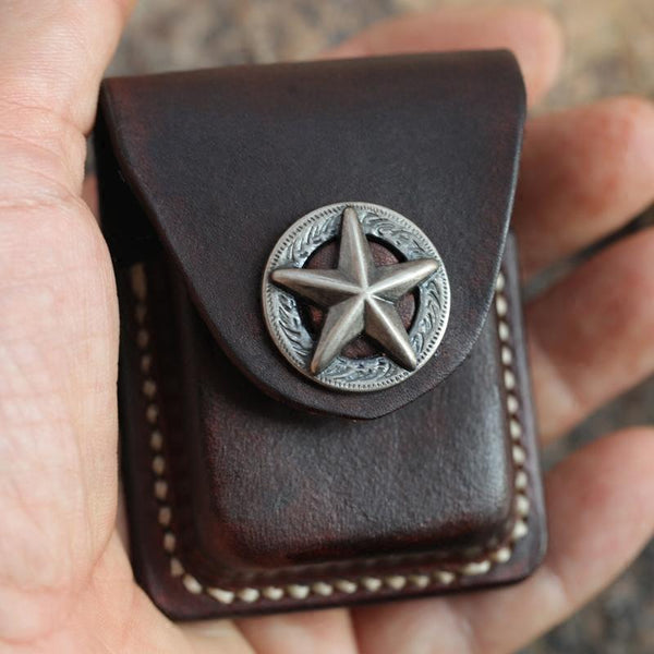 Cool Mens Leather Star Zippo Lighter Case with Loop Zippo lighter Holder with clips