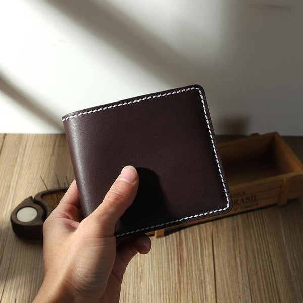 Handmade Coffee Leather Billfold Wallet Personalized Mens Contrast Color Wallets for Men